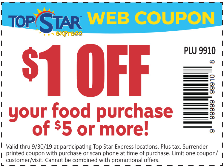 1 dollar off your food purchase of 5 dollars or more