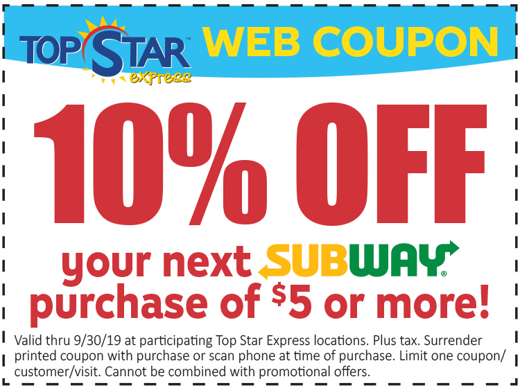 10% off your next subway purchase of 5 dollars or more
