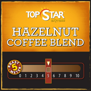 <strong>Hazelnut Coffee Blend</strong> <br /> Creamy, smooth and sweet, with a hint of vanilla and the rich flavor of warm roasted nuts, this coffee has an unforgettable taste and aroma.