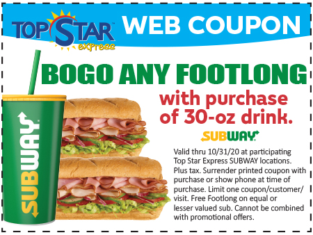 Subway BOGO Any Footlong with Drink Purchase