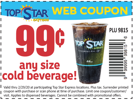 99 Cent ANY Size Cold Beverage