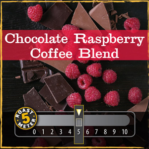 <strong>Chocolate Raspberry Coffee Blend</strong><br /> Dark European chocolate and the accent of fresh, ripe raspberries with a hint of sweetness.