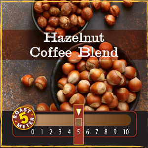 <strong>Hazelnut Coffee Blend</strong><br /> Creamy, smooth and sweet, with a hint of vanilla and the rich flavor of warm roasted nuts, this coffee has an unforgettable taste and aroma.