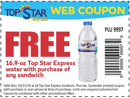 Free TSE 16.9-oz Water w/ Food Purchase